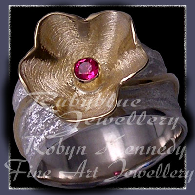 18 Karat Yellow Gold, Sterling and Genuine Ruby 'Love Blooms' Ring Image