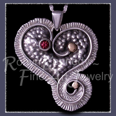 14 Karat Yellow Gold, Sterling Silver and Raspberry Rhodolite Garnet 'Lucky Charms ~ Heart' Pendant Image