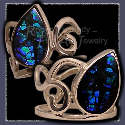 14 Karat White Gold and Blue Ammolite 'Moondrop' Ring Image