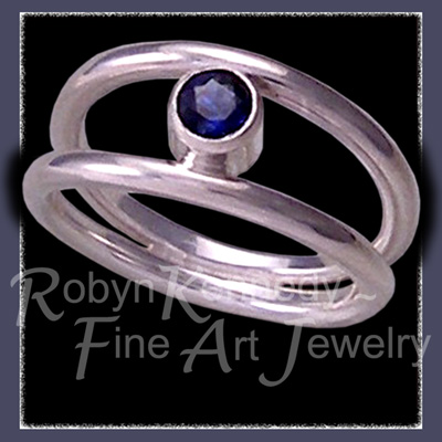 Sterling Silver and Genuine Blue Sapphire 'Orbit' Ring Image