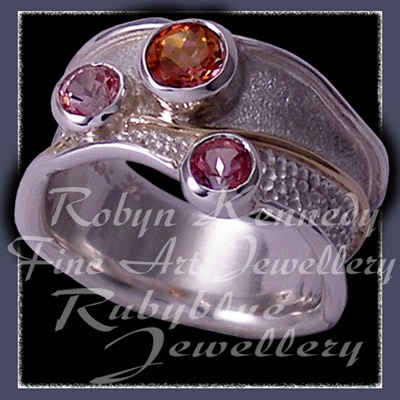 14 Karat Yellow Gold, Sterling Silver, Sunrise Mystic Topaz, Passion Pure Pink Topaz and Baby Pink Topaz 'Pleasures' Ring Image