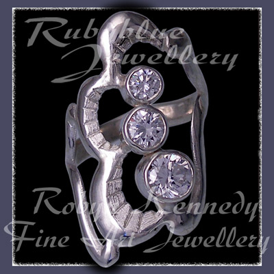 Sterling Silver and Swarovski Cubic Zirconias 'Past, Present, Future' Ring Image