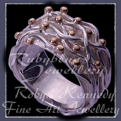 Sterling Silver Wires and Golden Caviar, 'Pure Gold N Silver Joy' Ring Image