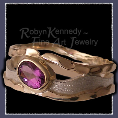 10 Karat Yellow Gold, Sterling Silver and Amethyst , 'Purple Reigns' One-of-a-Kind Ring Image