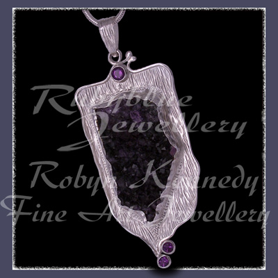Argentium, Fine and Sterling Silver, Amethyst Crystals and Facetted Amethyst, 'Purple Passion' Pendant Image