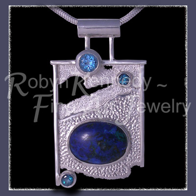 Sterling Silver, Azurite-Malachite, Swiss Blue Topaz and Evergreen Diffused Topaz 'Road To Phi' Pendant Image