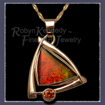 14 Karat Yellow Gold, Ammolite and Mandarin Garnet, One-of-a-kind 'Spicee'Pendant Image