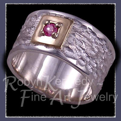 18 Karat Yellow Gold, Argentium Silver and Genuine Pink Sapphire 'Sweet Love' Ring Image