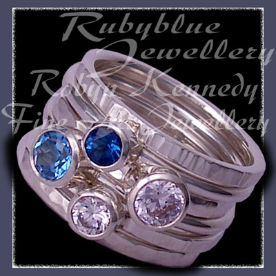 Sterling Silver, Swiss Blue Topaz,London Blue Topaz and Swarovski Cubic Zirconias, 'Revelry' Stacker Ring Set Image