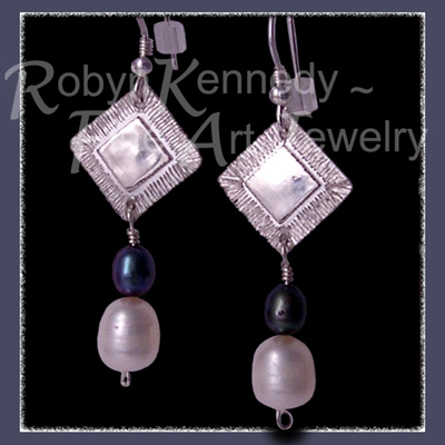 Sterling Silver and Genuine Black and White  Freshwater Pearl 'Tribal Glam' Diamond Earrings  Image