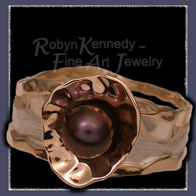 10 Karat Yellow Gold, Sterling Silver and Cultured Black Pearl, 'Truffles' One-of-a-Kind Ring Image