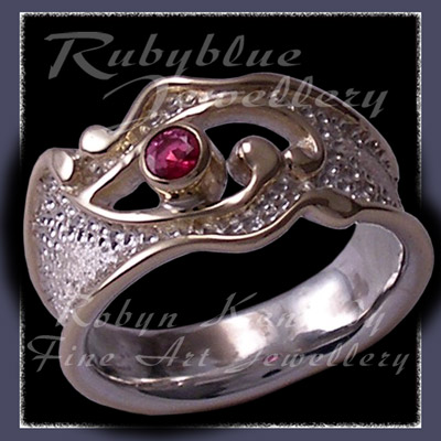 14 Karat Yellow Gold, Sterling Silver and Genuine AA Ruby 'Valentina' Ring Image