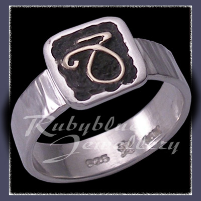 Sterling Silver and 14 Karat Yellow Gold 'Capricorn'  Ring Image