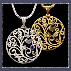 Sterling Silver and Gold 'Forget-Me-Not Bouquet' Pendants Picture